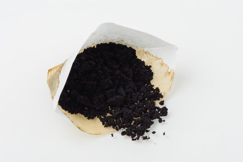 used coffee grounds filter